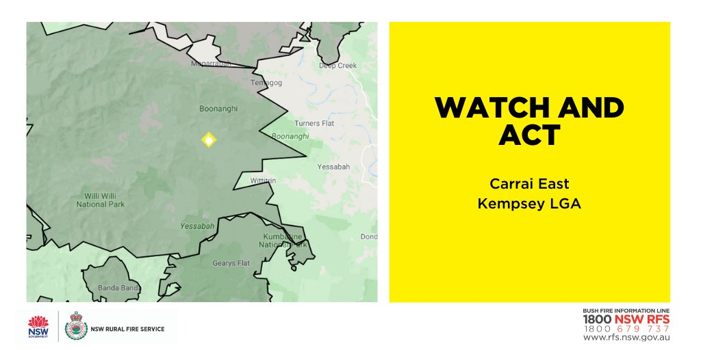 Watch and Act: Carrai East (Kempsey LGA). Fire activity is increasing across the fireground, mainly in the areas of Dungay Creek and Boonanghi. Residents in the area should enact their bush fire survival plan and continue to monitor the situation. #nswrfs #nswfires