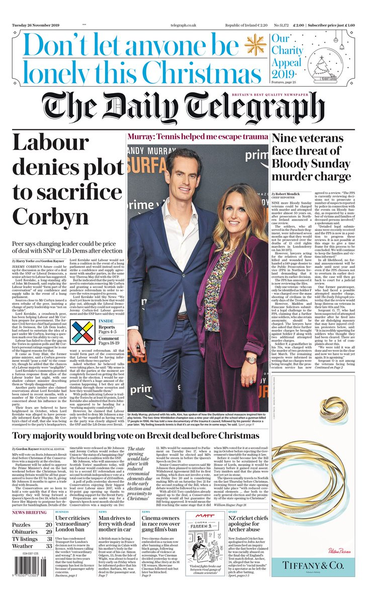 """Tuesday's Daily TELEGRAPH: """"Labour denies plot to sacrifice Corbyn"""" #BBCPapers #TomorrowsPapersToday"""