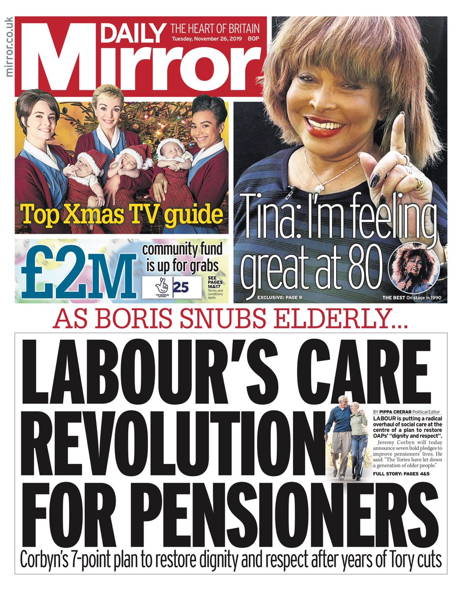 """Tuesday's Daily MIRROR: """"Labour's Care Revolution For Pensioners"""" #BBCPapers #TomorrowsPapersToday"""