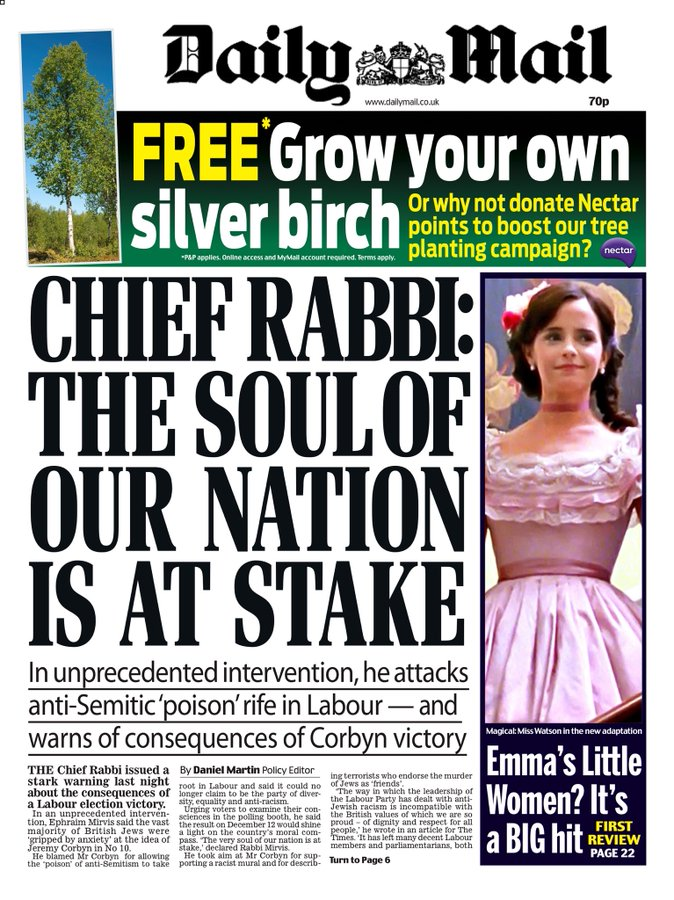 Tuesdays Daily Mail: Chief Rabbi: The soul of our nation is at stake #BBCPapers #TomorrowsPapersToday (via @AllieHBNews)