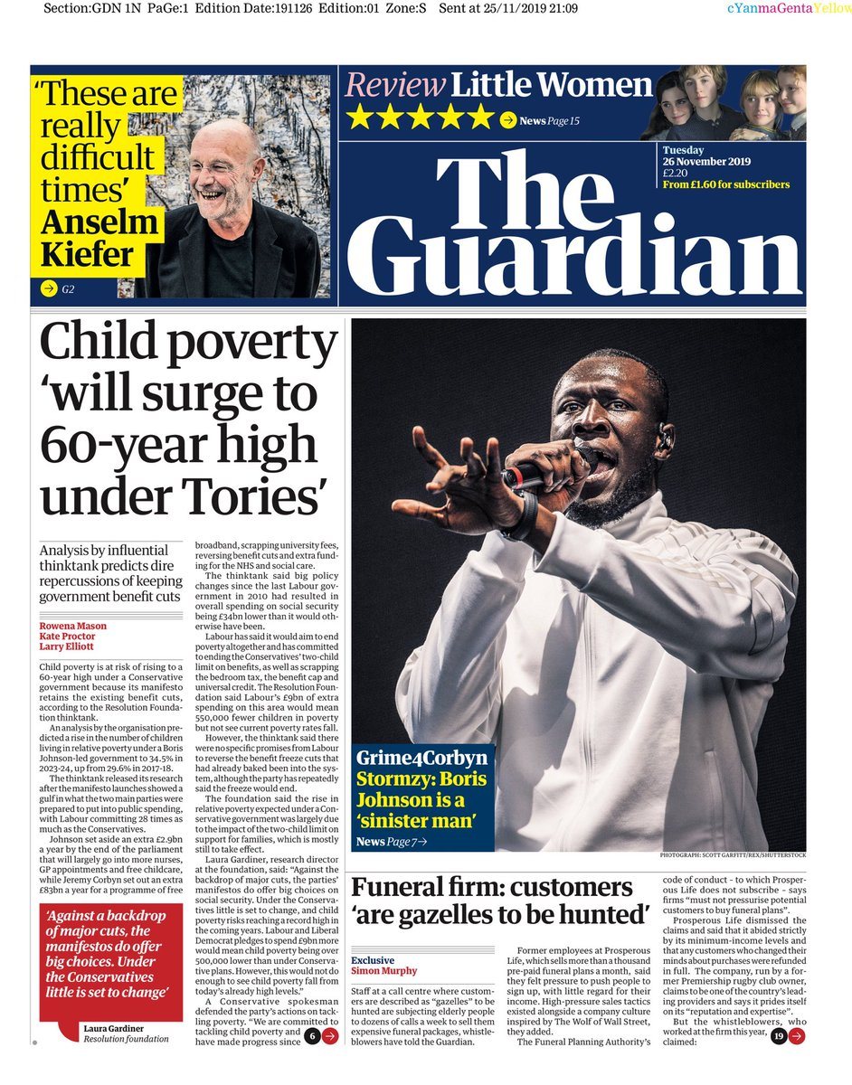 """Tuesday's GUARDIAN: """"Child poverty 'will surge to 60-year high under Tories' """" #BBCPapers #TomorrowsPapersToday"""