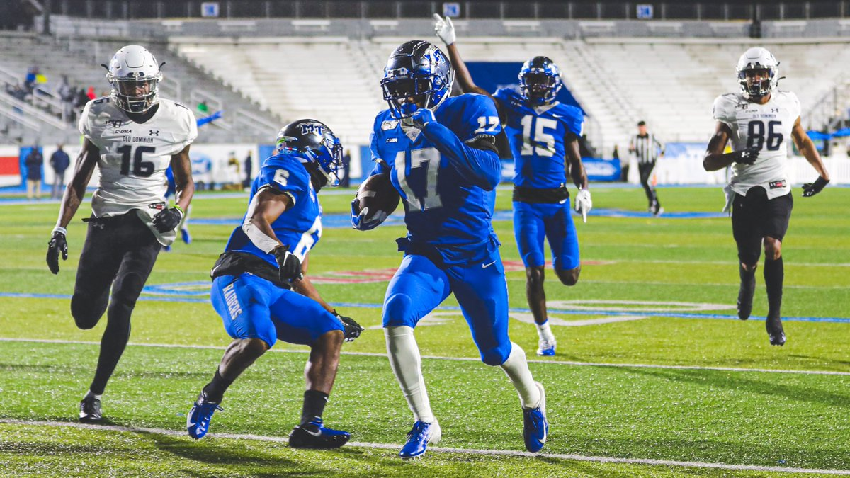 Stribling with his first career pick six this past weekend vs ODU. #BlueRaiders | #MT | #EATT
