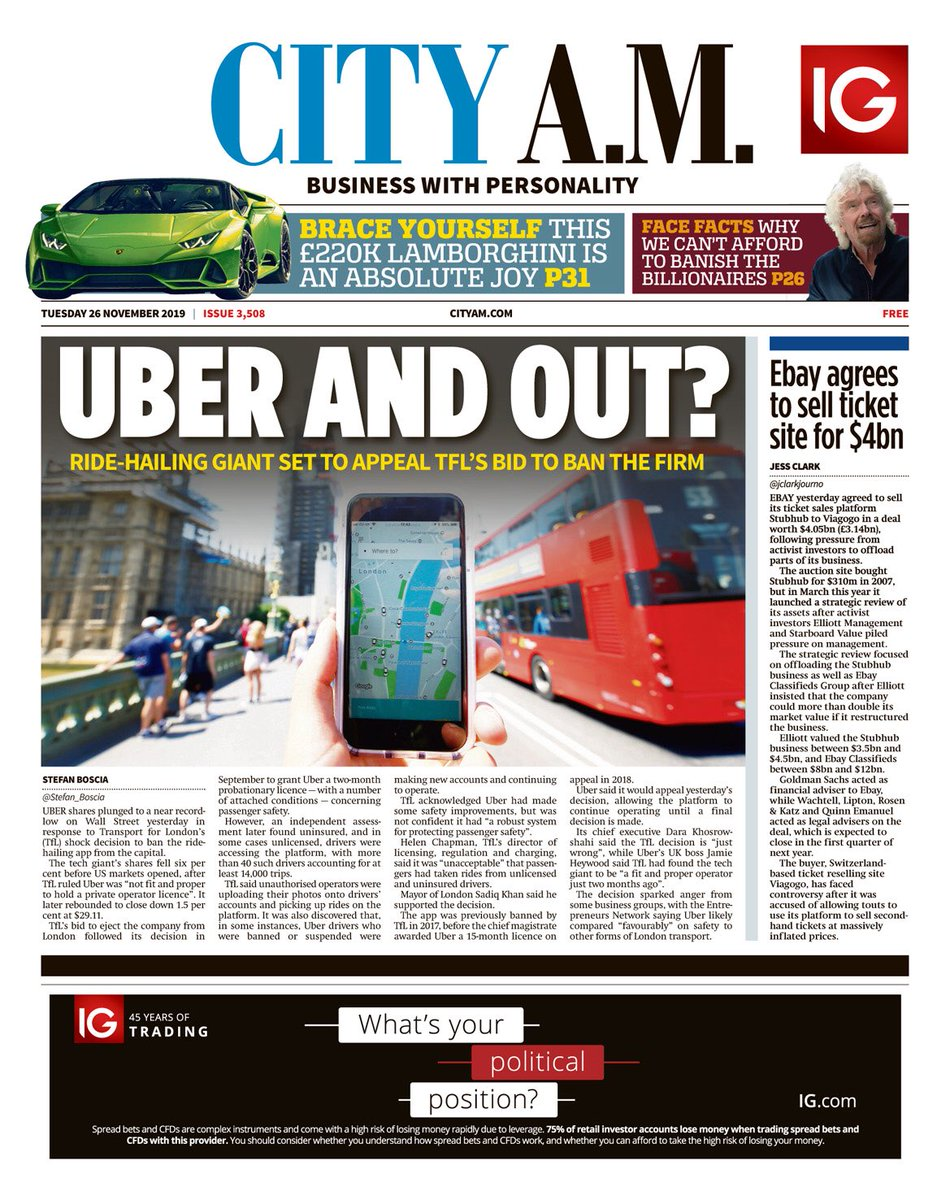 """Tuesday's CITY A.M. - """"Uber And Out?"""" #BBCPapers #TomorrowsPapersToday"""