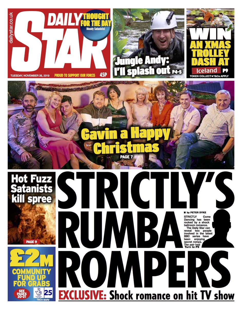 """Tuesday's Daily STAR: """"Strictly's Rumba Rompers"""" #BBCPapers #TomorrowsPapersToday"""