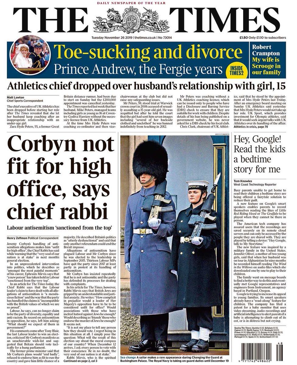 """Tuesday's TIMES: """"Corbyn not fit for high office, says chief rabbi"""" #BBCPapers #TomorrowsPapersToday"""