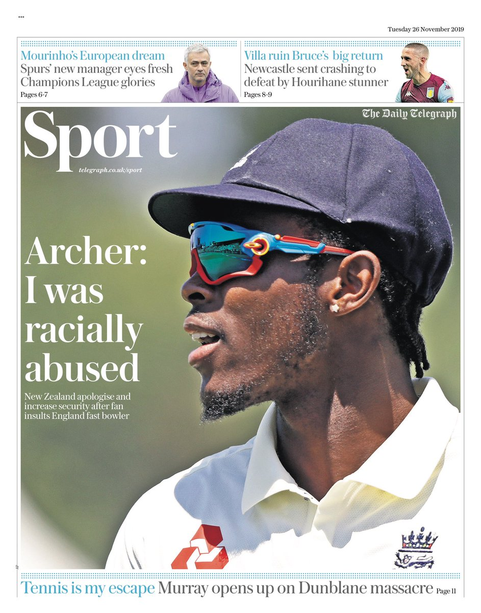 """Tuesday's TELEGRAPH Sport: """"Archer: I was racially abused"""" #BBCPapers #TomorrowsPapersToday"""