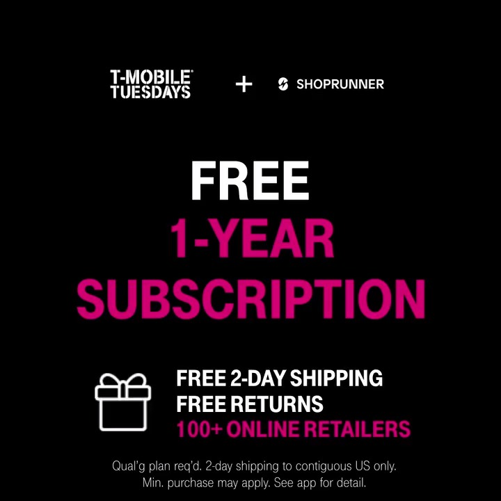 This holiday season, stuff your mailbox 📦📭 Get a FREE 1-year subscription to @ShopRunner from #TMobileTuesdays and enjoy free 2-day shipping and returns with 100+ online retailers 💯🎉 📲: t-mo.co/shoprunner