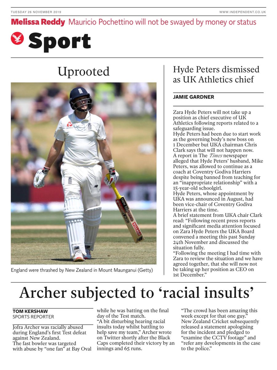 """Tuesday's INDEPENDENT Digital Sport: """"Archer subjected to 'racial insults' """" #BBCPapers #TomorrowsPapersToday"""