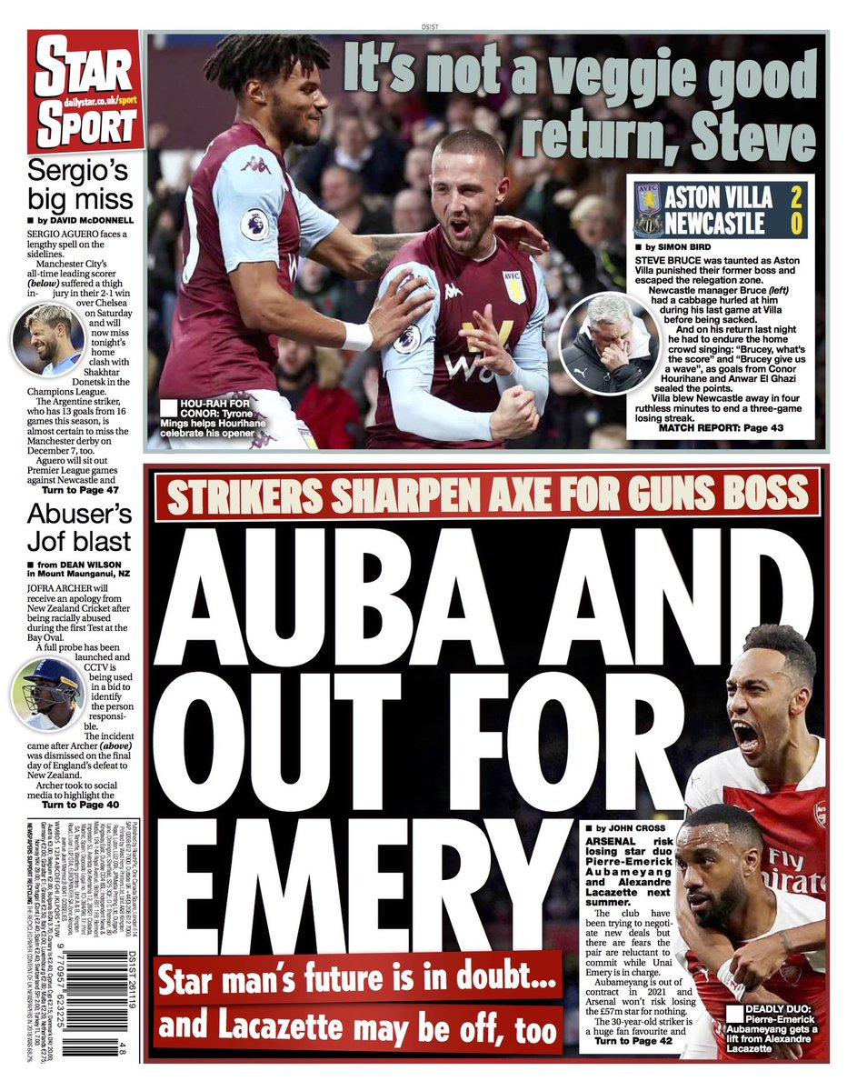 """Tuesday's STAR Sport: """"Auba And Out For Emery"""" #BBCPapers #TomorrowsPapersToday"""