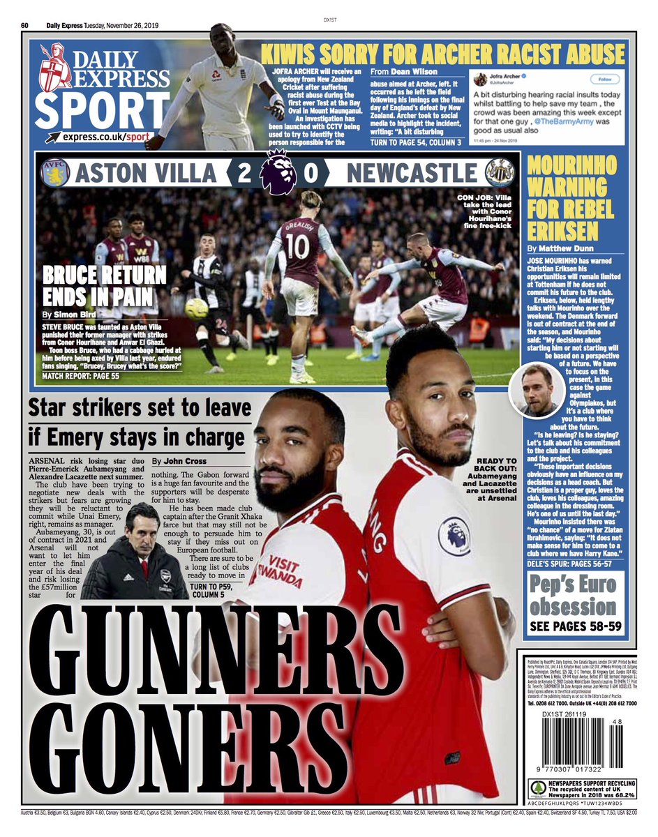 """Tuesday's EXPRESS Sport: """"Gunners Goners"""" #BBCPapers #TomorrowsPapersToday"""
