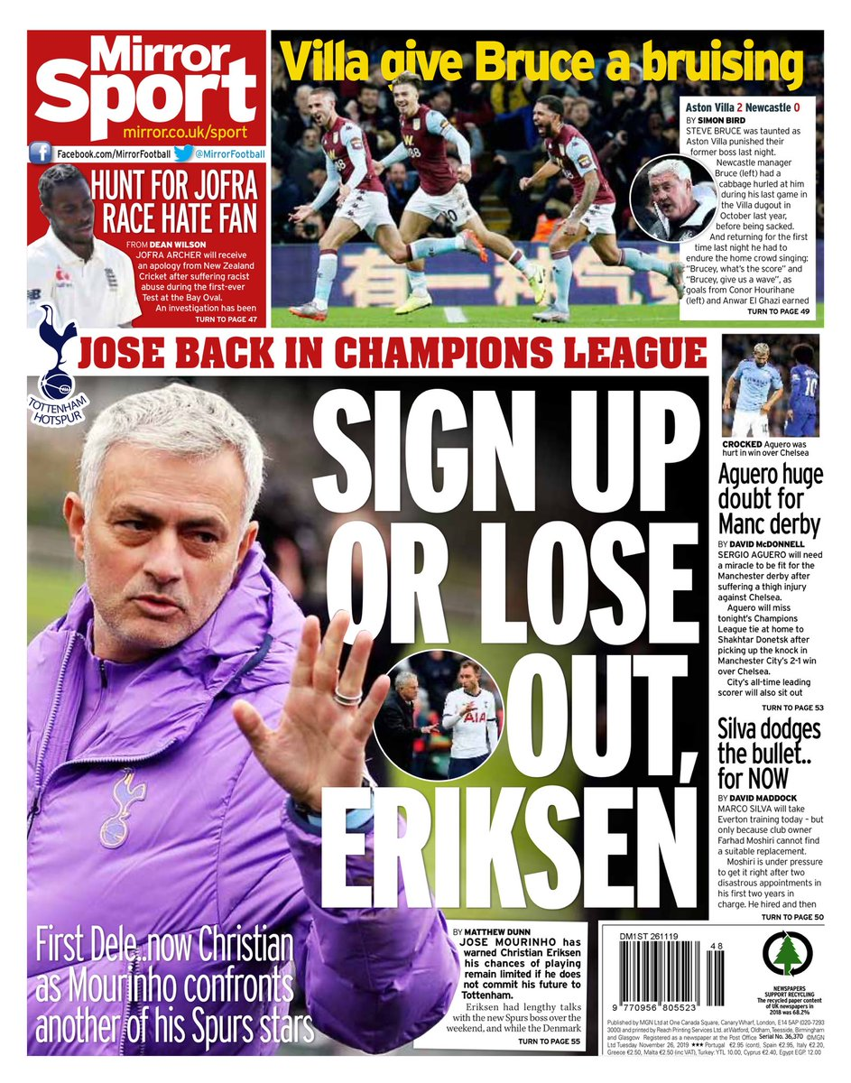 """Tuesday's MIRROR Sport: """"Sign Up Or Lose Out, Eriksen"""" #BBCPapers #TomorrowsPapersToday"""