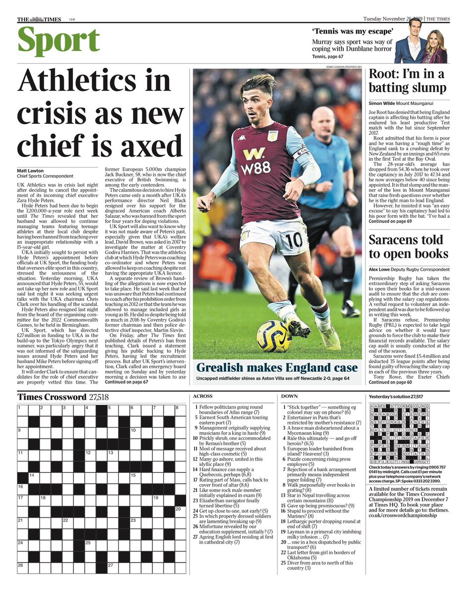"""Tuesday's TIMES Sport: """"Athletics in crisis as new chief is axed"""" #BBCPapers #TomorrowsPapersToday"""