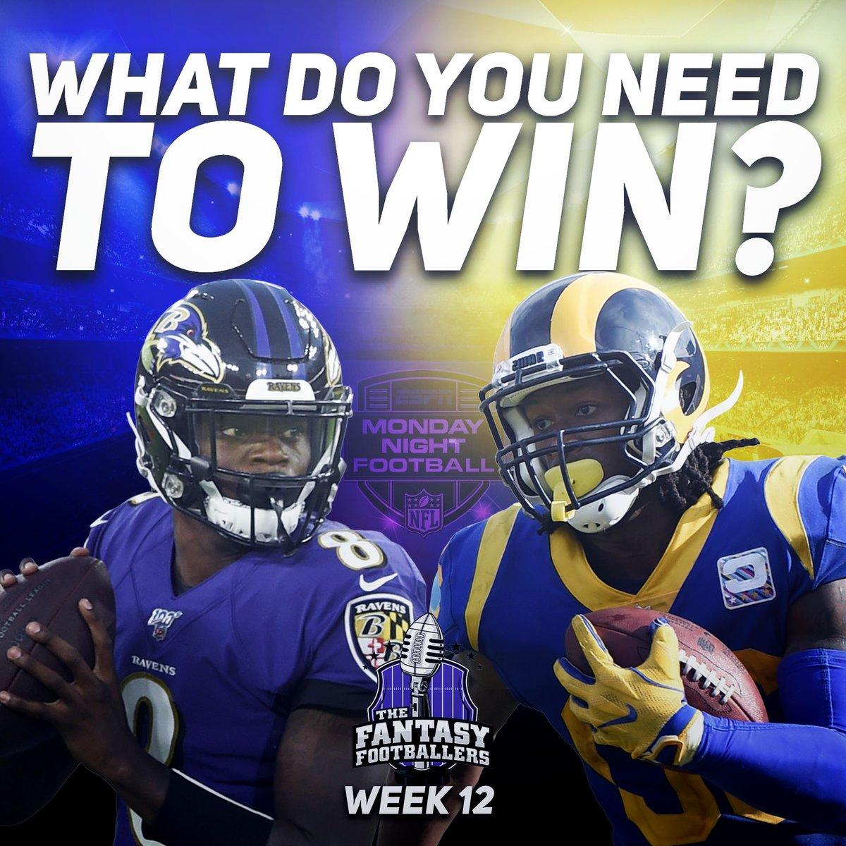 What do you need to happen tonight to get a #Week12 Win? #fantasyfootball #mondaynightfootball #MNF #ravens #rams #BALvsLAR<br>http://pic.twitter.com/0O15dIrGA9