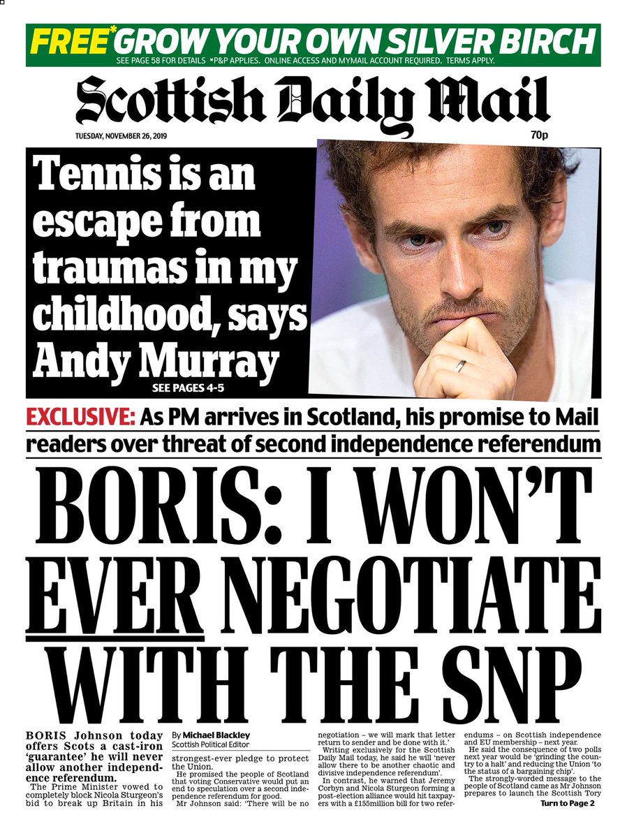 """Tuesday's Scottish Daily MAIL: """"Boris: I Won't EVER Negotiate With The SNP"""" #BBCPapers #TomorrowsPapersToday"""