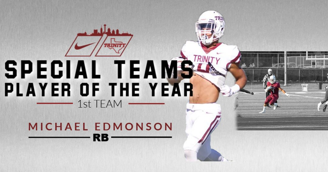 Congratulations @mikeedmon on being All-SAA @SAA_Sports Special Teams Player of the Year!#BeTheStandard #PTC