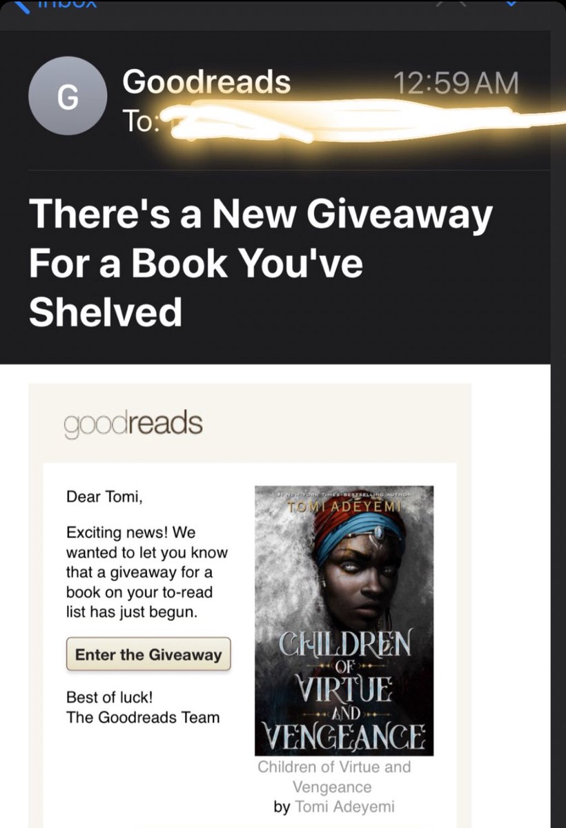 one of the best emails i've gotten from @goodreads lol  link to the CVV giveaway below!   https://www.goodreads.com/giveaway/show/299630-children-of-virtue-and-vengeance…