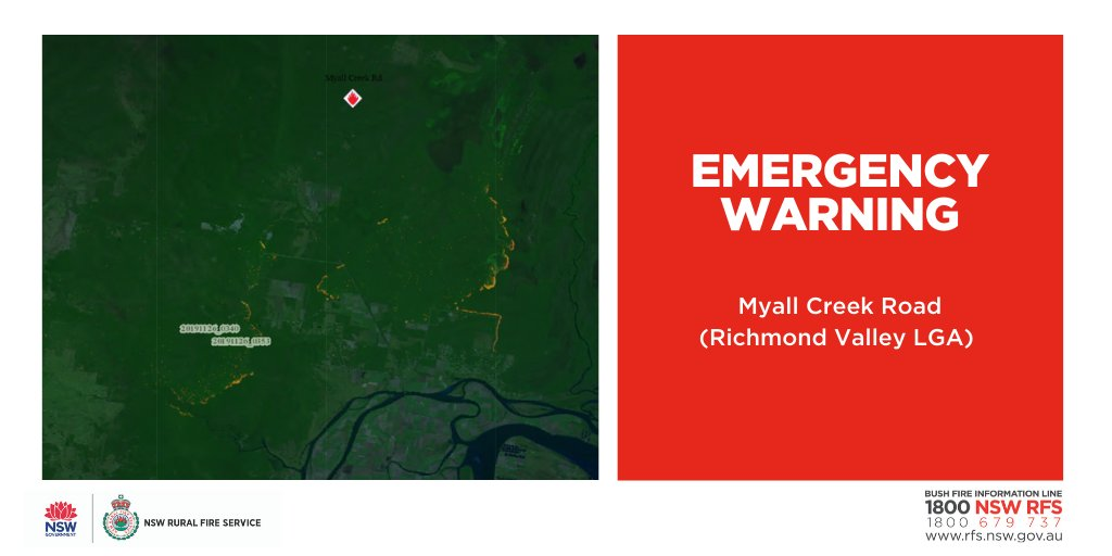 EMERGENCY WARNING: Myall Creek Rd (Richmond Valley) Fire is moving toward properties in Ashby Heights, Ashby and Woombah. Fire also burning to the Nth of Glencoe Rd, Est of the Pac Hwy. Iluka Rd and Old Murrayville Rd are closed. Pac Hwy currently open #nswrfs #nswfire #ALERT