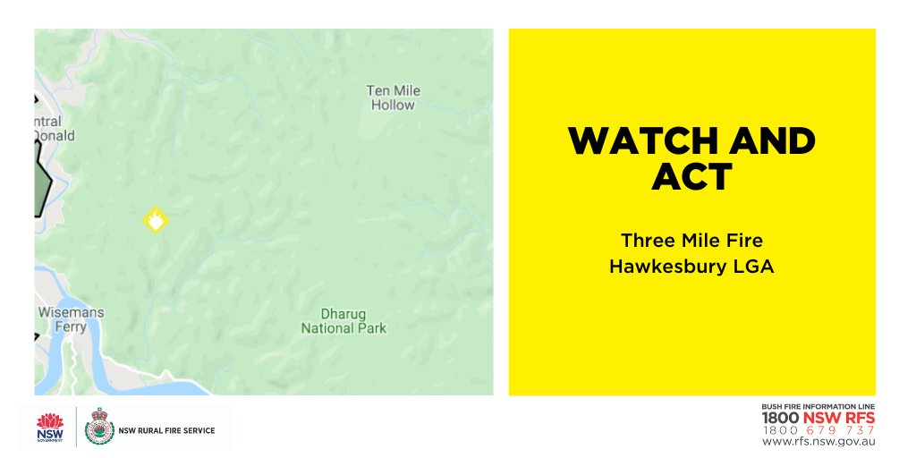 Watch and Act: Three Mile Fire (Hawkesbury). Fire activity is increasing across the fireground. A number of spot fires are starting ahead of the main front. The fire is also backing down towards the Macdonald River. There are no threats to homes at this stage. #nswrfs #nswfires