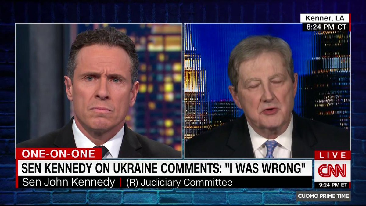 I was wrong, says GOP Sen. John Kennedy, backtracking after he repeated a debunked conspiracy theory that Ukraine interfered in the 2016 US election. It was Russia who tried to hack the DNC computer. I've seen no indication that Ukraine tried to do it. cnn.it/34mQtJd