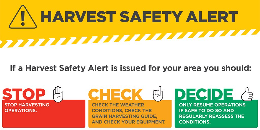 Harvest Safety Alert for Carrathool, Griffith, Hay, Leeton, Murrumbidgee & Narrandera LGAs. Harvesters must immediately check conditions are within guidelines rfs.nsw.gov.au/harvesting-gui… #NSWRFS