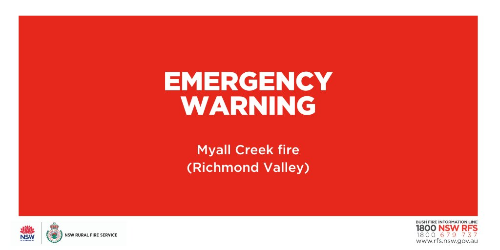 EMERGENCY WARNING: Myall Creek Road fire (Richmond Valley). Fire activity is increasing with spot fires starting ahead of the main fire. Residents in the areas of Ashby Heights and Woombah should seek shelter as the fire approaches. #nswrfs #nswfires #alert