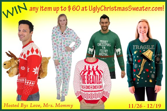 Love, Mrs. Mommy on Twitter: #GIVEAWAY! Enter to #WIN any item up to $60 from @uglyXsweater! #GiftCard #Holiday #Christmas #Party #TV #Movie #Gift #Present @Love_MrsMommy #Contest #Free #Prize