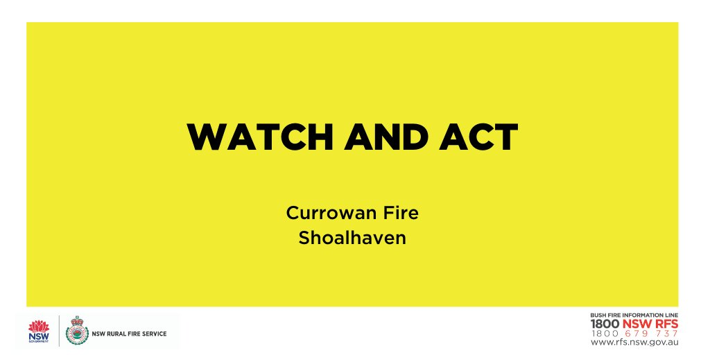 Watch and Act: Currowan Fire (Shoalhaven) Fire activity is increasing and burning embers may start spot fires ahead of the main firefront. If you are in the area of the Currowan State Forest, Shallows Crossing and East Lynne, watch out for smoke and embers. #NSWRFS #NSWFires