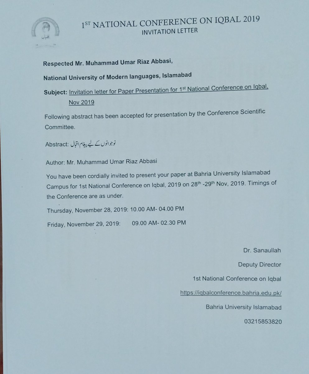 I will present Research Paper at 1st National Conference on Iqbal at Bahria University Islamabad 28-11-2019