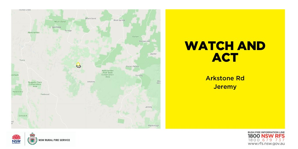 Watch and Act: Arkstone Rd, Jeremy (Oberon) There is a fire burning near Arkstone Road, Jeremy area. The fire is burning east towards Fiddlers Flat and Foxden. If you are in the area, monitor the situation. Know what you will do if the fire threatens. #NSWRFS #NSWFires