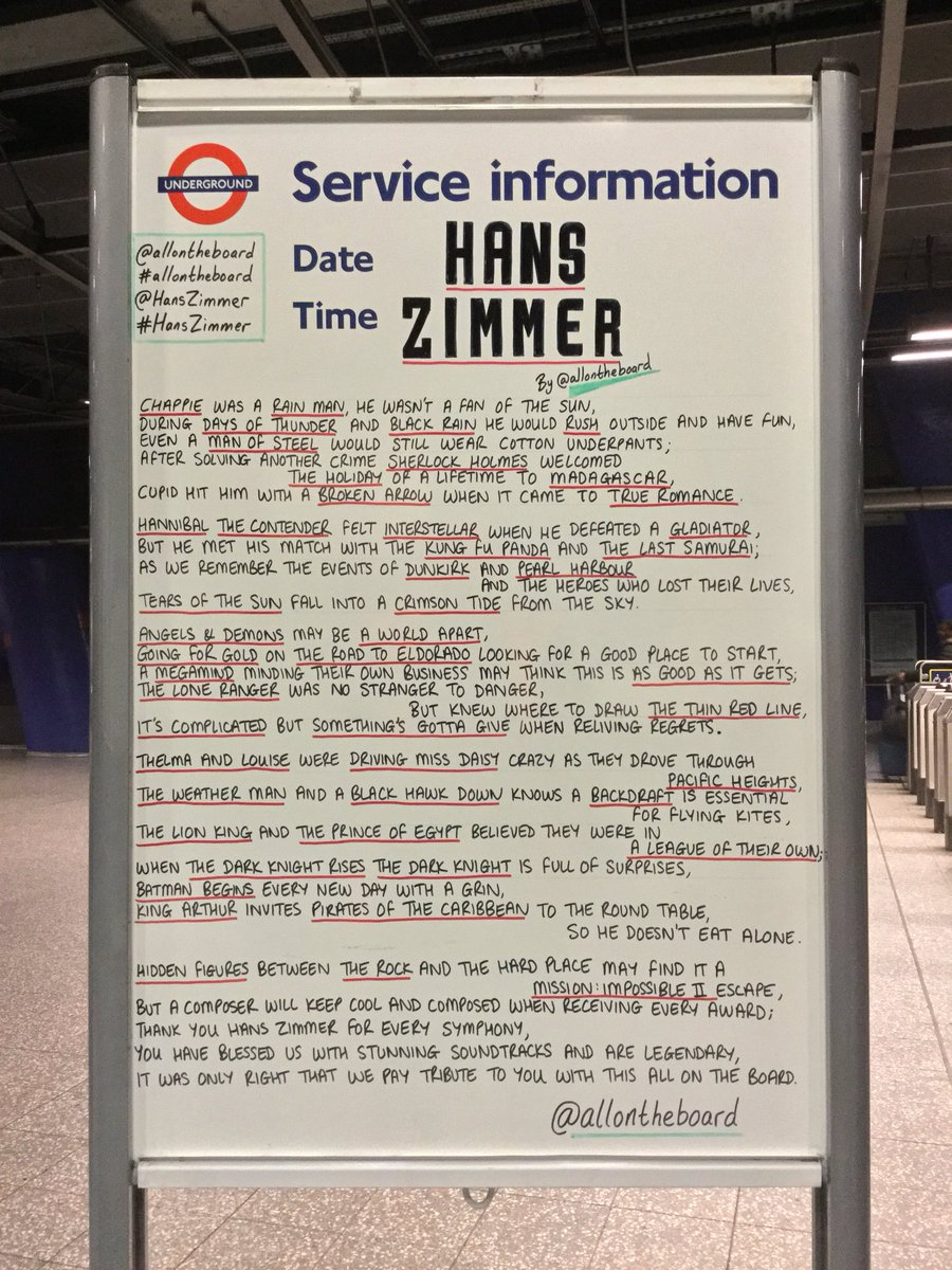 @HansZimmer's most powerful, emotional and vulnerable music will tonight be performed in spectacular style at @TheO2 in 'The World Of Hans Zimmer'. Poem by @allontheboard is in North Greenwich station now. #HansZimmer #TheWorldOfHansZimmer #WOHZ #allontheboard #Legend #Genius