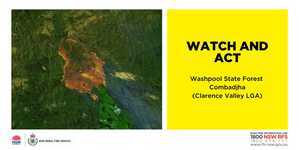 Watch and Act: Washpool State Forest, Combadjha (Clarence Valley LGA) Fire activity has increased Wst of Washpool Nat Park. If near Rocky River Rd, Wst of the Timbarra Rvr, your plan is to leave and the path is clear, leave in East direction towards Tenterfield. #nswrfs #ALERT