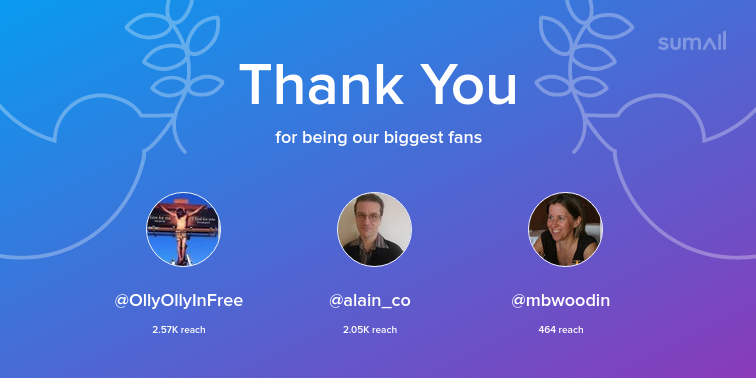 Our biggest fans this week: OllyOllyInFree, alain_co, mbwoodin. Thank you! via sumall.com/thankyou?utm_s…