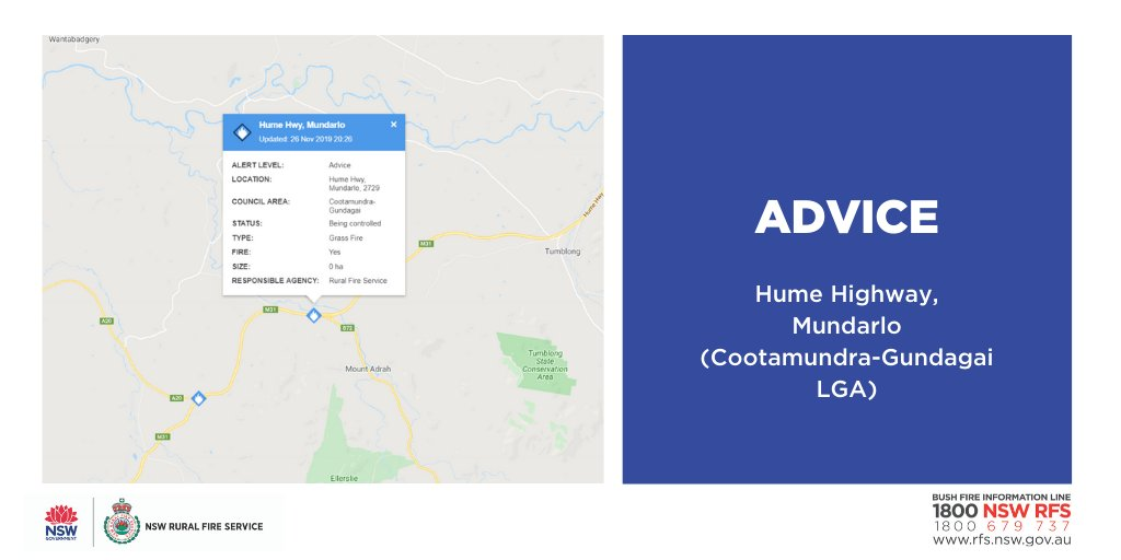 Advice: Hume Hwy, Mundarlo (Cootamundra-Gundagai). Firefighters are working to contain a fire burning near the Hume Highway at Mundarlo. One lane is closed northbound while crews extinguish the fire. #nswrfs #nswfires