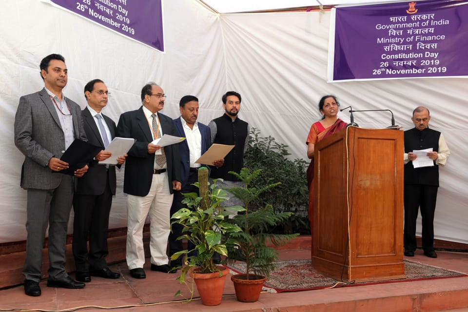 Finance Minister Smt. @nsitharaman administers the #ConstitutionDay Pledge to officers of Ministry of Finance. 26th November is celebrated across the country marking 70th anniversary of the adoption of the #ConstitutionofIndia. #WeThePeople #MyDuties