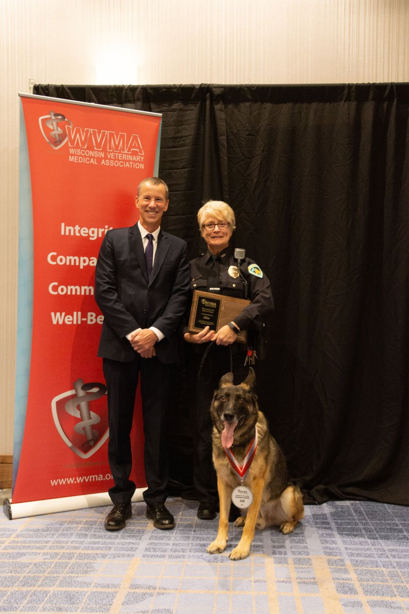 K9 Slim from the @madisonpolice has been inducted into the WVMA Pet Hall of Fame. K9 Slim and his handler, Officer Carren Corcoran, will both be retiring soon.