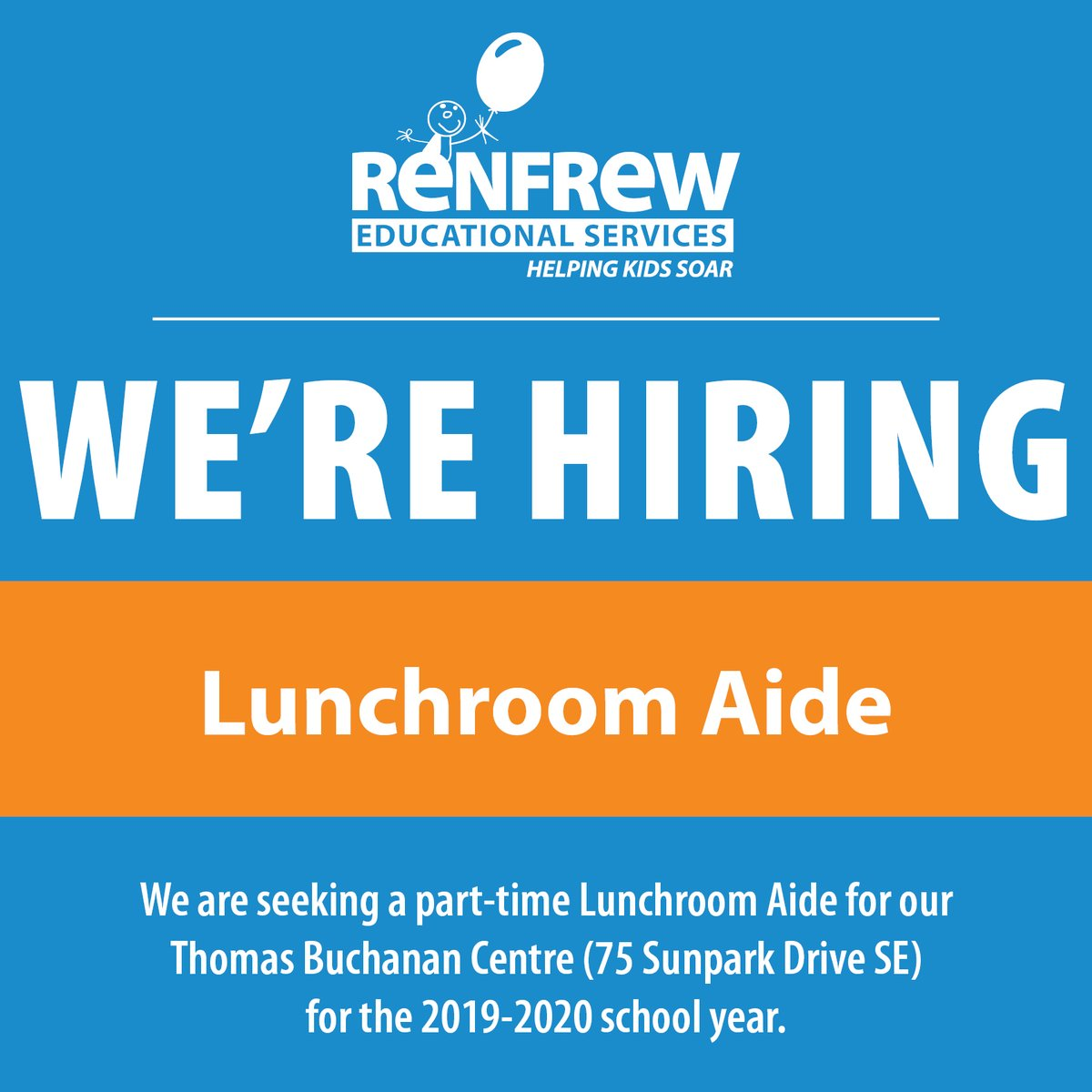 Looking for a fun and engaging #career without a full-time commitment? We're seeking a part-time Lunchroom Aide for our Thomas Buchanan Centre (75 Sunpark Drive SE). Learn more and apply here:  #RESCalgary #YYCJobs #SpecialEducation