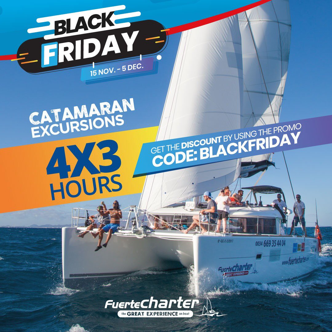 BLACK FRIDAY DEAL 4X3 Experience a private catamaran excursion with a #Lagoon 380 to Lobos Island. Enjoy 4 hours excursion at the price of 3Book your #PrivateTrip in http://fuertecharter.com  and get the discount by using the promo code: blackfriday. Valid untill 5 Dic pic.twitter.com/WXfiPjZUoh