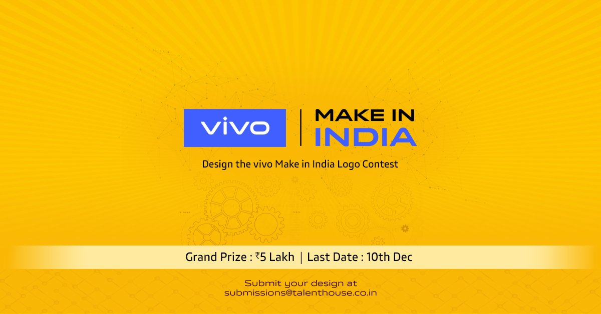 #5yearsofvivo  @Vivo_India is celebrating it's 5th anniversary.  Participate in the vivo Make in India logo challenge. Design the vivo logo with elements of India and stand a chance to win big.  Last date to participate: 10th December. Know More : https://bit.ly/3272kJq