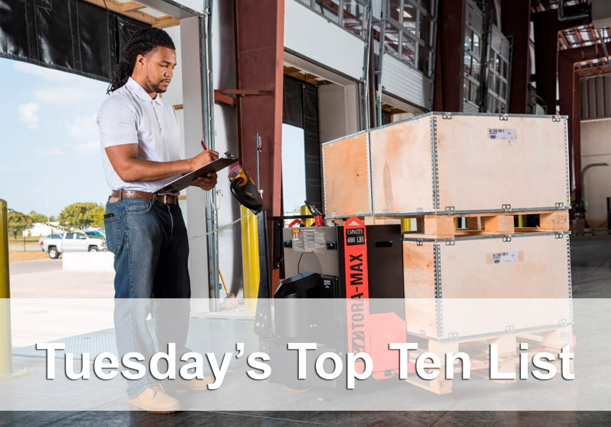 The Top Ten Tuesday Summary You wont want to fumble and miss the Top Ten Tuesday Twitter summary. The most popular posts from last week in one neat bundle for you to review. View it here: bit.ly/2qL2NEA #Forklift #Warehousing #Construction #Logistics