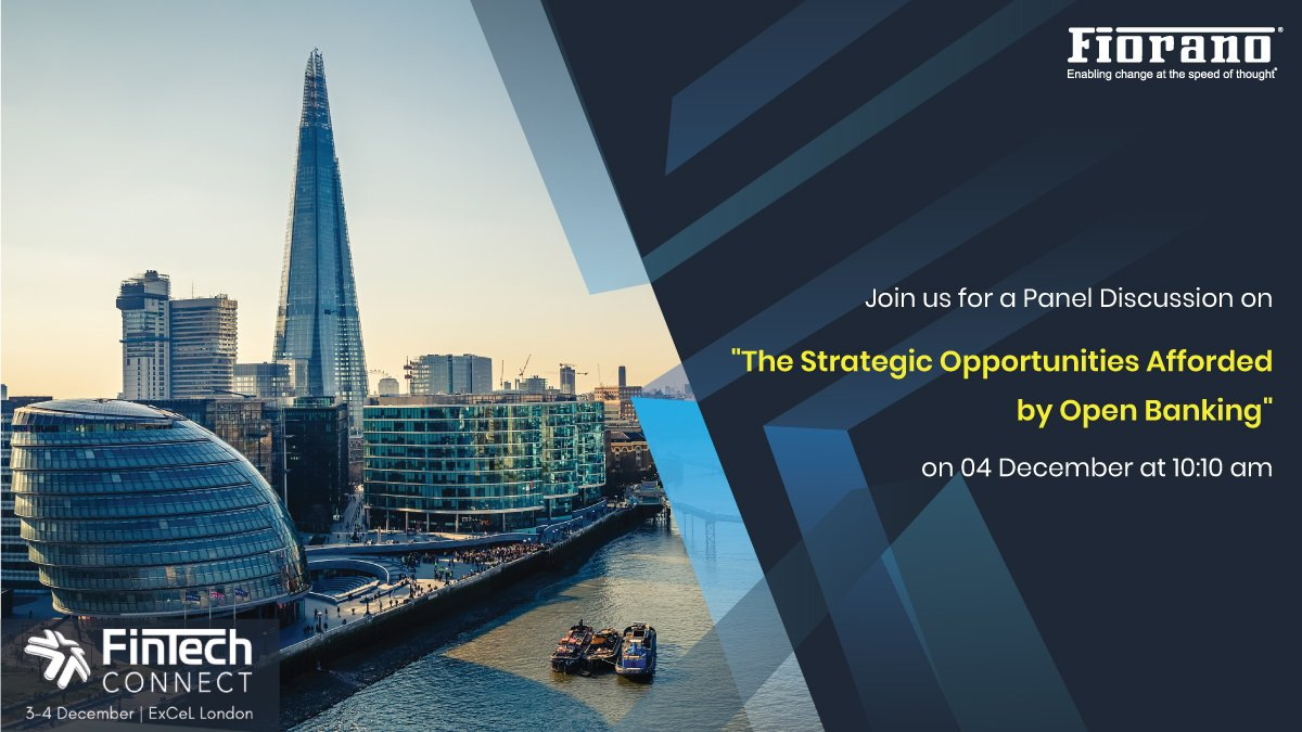 """Join us @fintech_connect on 4 Dec. for a panel discussion on """"The Strategic Opportunities Afforded by Open Banking"""" moderated by Fiorano Open Banking Lead, Biju Suresh Biju with delegates from @Barclays, @DanskeBank_UK, @YoltTech, @DeutscheBank & @Nordea #openbanking #FTC19"""
