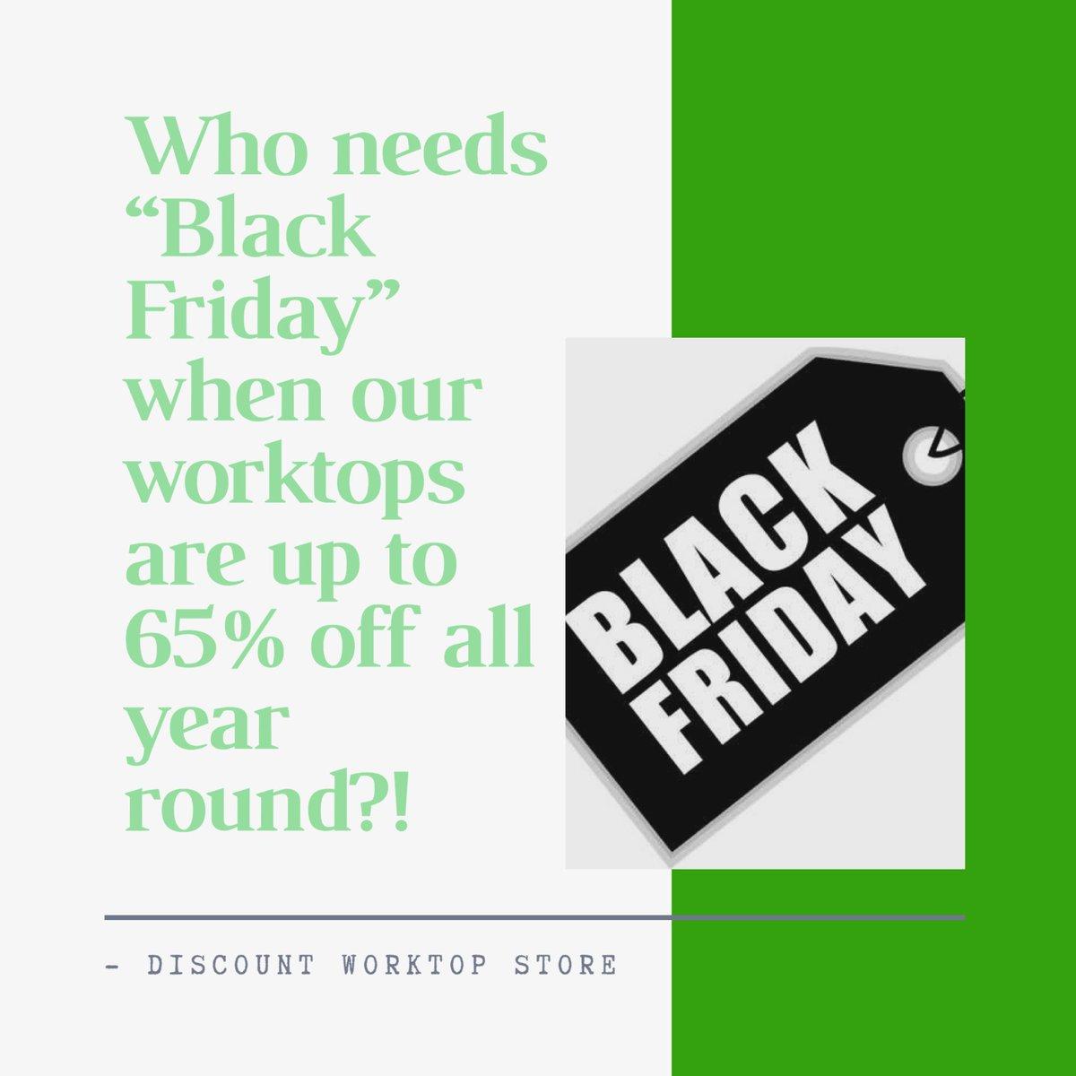 Every day is Black Friday at Discount Worktop Store. #corian #apolloworktops #granite #quartzworktops kitchen-worktops-store.co.uk