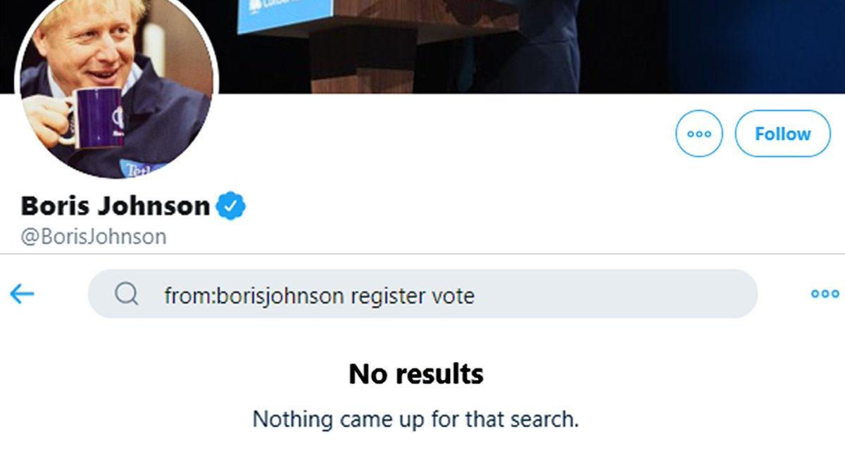 It's DEADLINE DAY and Boris Johnson still hasn't tweeted even once asking people to register to vote.  He doesn't want you to vote in this General Election.  Change this now. Register to vote and make sure your friends do the same.  http://gov.uk/register-to-vote… #RegisterToVote