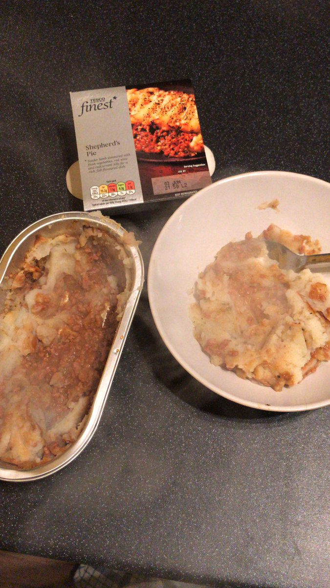 @Tesco #tescofinest #shephardspie where the hell is the meat??? This is a bowl of mash potato and a tinny winny bit of mince! Zzz 😴 😩