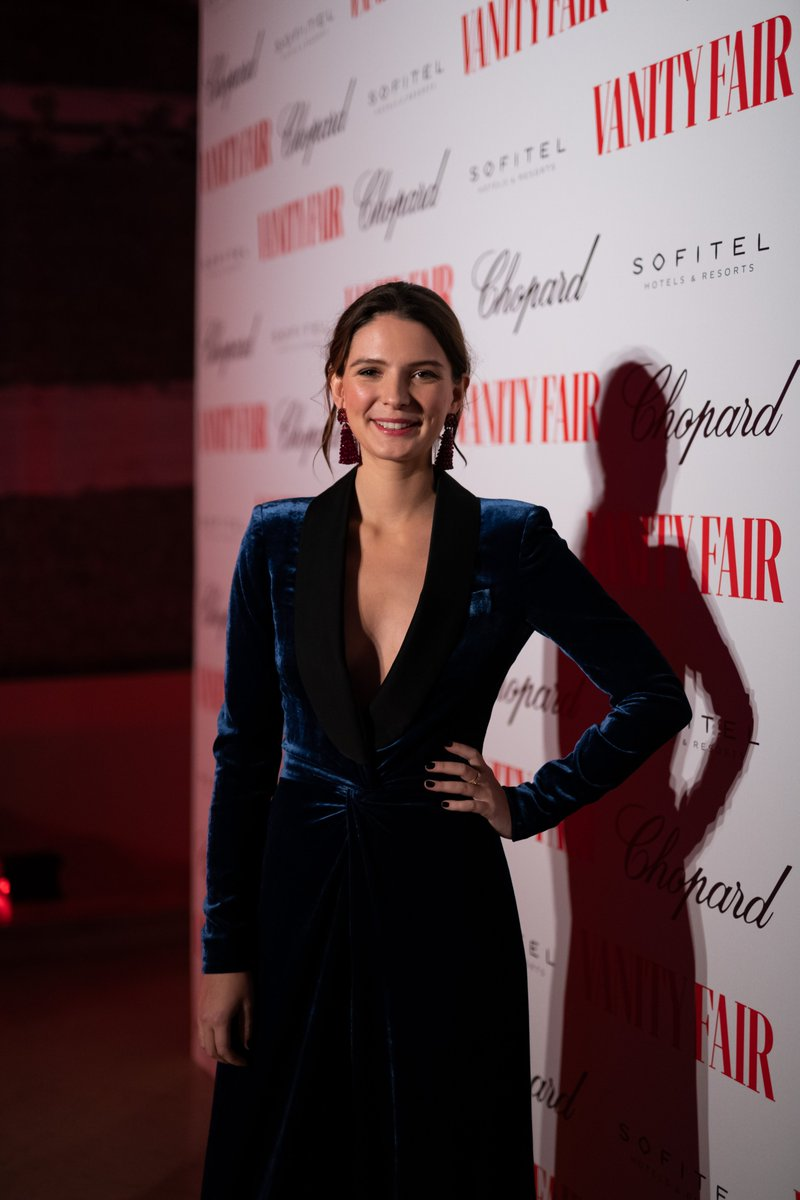 Josephine Japy attends the @VanityFair Dinner in Paris wearing a plush blue velvet jumpsuit from The Fall 2019 #RLCollection #RLRedCarpet