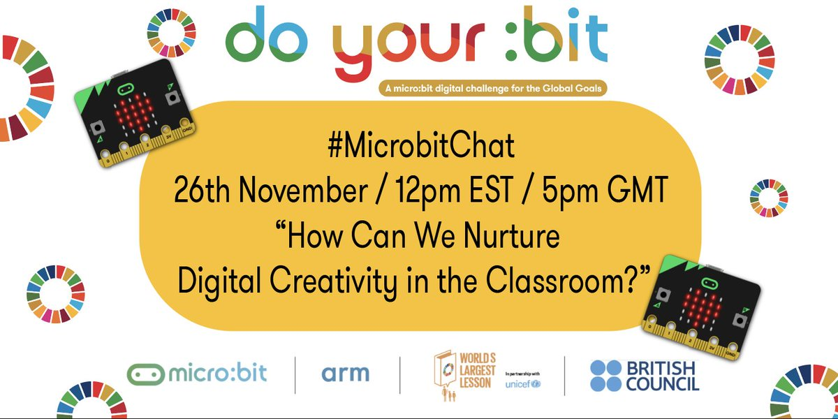 15-minute countdown to #MicrobitChat! Hope you can join in! @microbit_edu @TheWorldsLesson #TeachSDGs