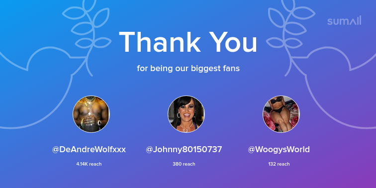 test Twitter Media - Our biggest fans this week: DeAndreWolfxxx, Johnny80150737, WoogysWorld. Thank you! via https://t.co/SPozDQpAuj https://t.co/PKxGOahHHc