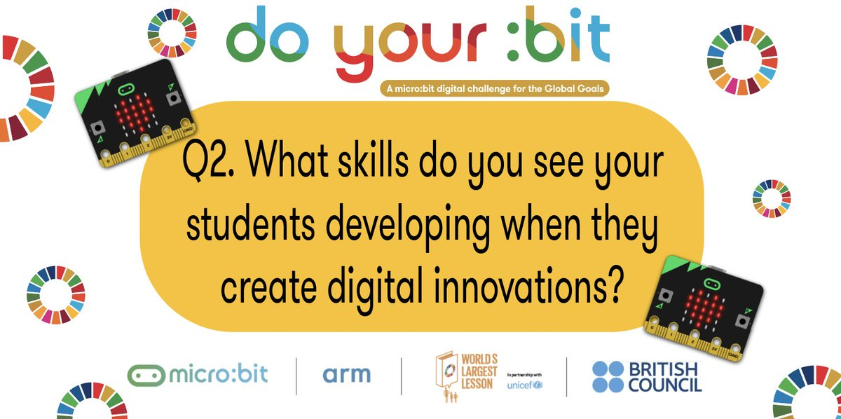 Q.2. What skills do you see your students developing when they create digital innovations? #MicrobitChat