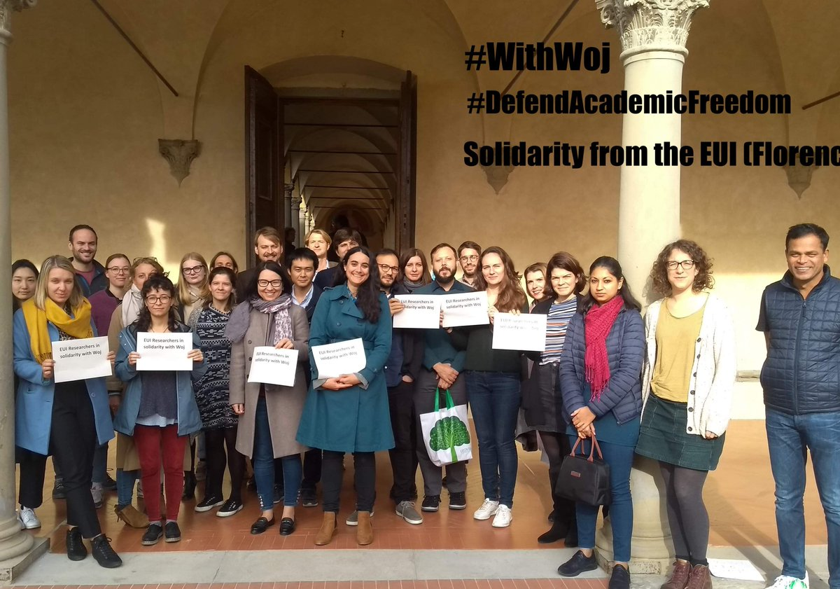 Members of the @EuropeanUni community send their support to Professor Wojciech Sadurski, who is currently facing trial in Poland for speaking up against the Polish government and the ruling party PiS. #withwoj #defendacademicfreedom
