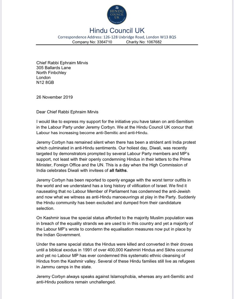 LATEST: The Hindu Council has now written to the Chief Rabbi to express their support and to accuse the Labour Party of also becoming anti-Hindu. Major interventions in this election today from pretty much every major faith in Britain. Astonishing.