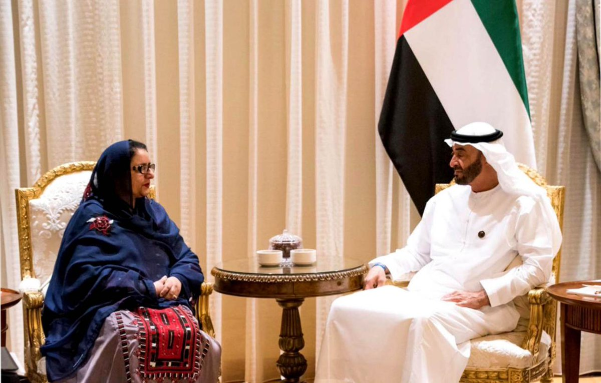 Federal Minister for Defence Production Ms. Zobaida Jalal met with His Highness Sheikh Muhammad bin Zayed Al Nahyan, Crown Prince of Abu Dhabi, at Qasr al Shati, Abu Dhabi.